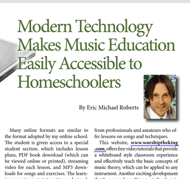 Eric's article published in The Old Schoolhouse Magazine